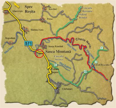 Sasca Montană - harta