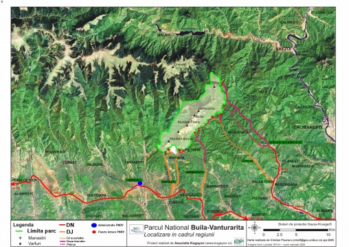 Localizare Acces in Parcul National Buila Vanturarita
