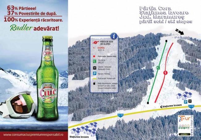 Harta partii schi Cora, Izvoare, Maramures