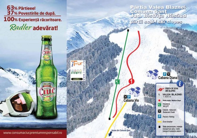 Harta partii schi Valea Blaznei, Sant, Bistrita-Nasaud