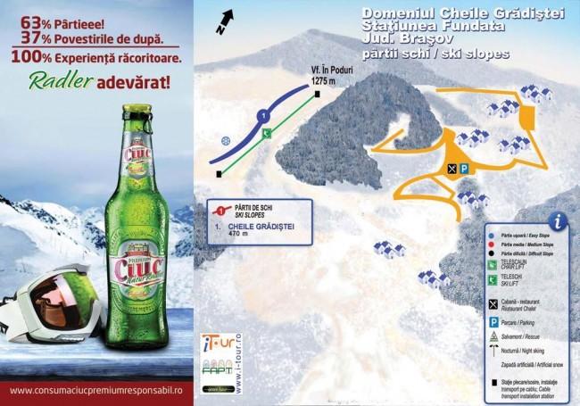 Harta partii schi Cheile Gradistei, Fundata, Brasov