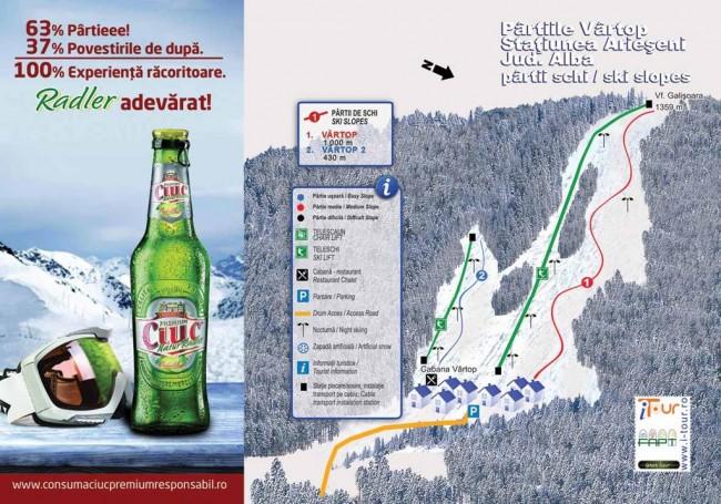 Harta partii schi Vartop, Arieseni, Alba