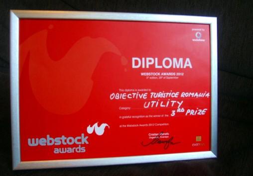 Diploma Webstock - locul 3 la categoria Utility pentru site-ul cu obiective turistice din România