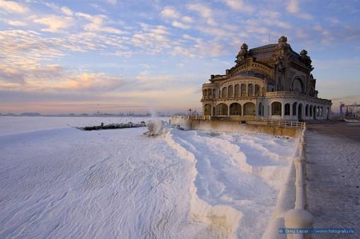 Cazinoul Constanța și Marea Neagră înghețată