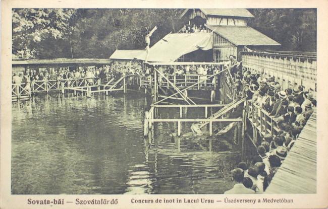 Sovata din trecut - concurs de înot Lacul Ursu 1928
