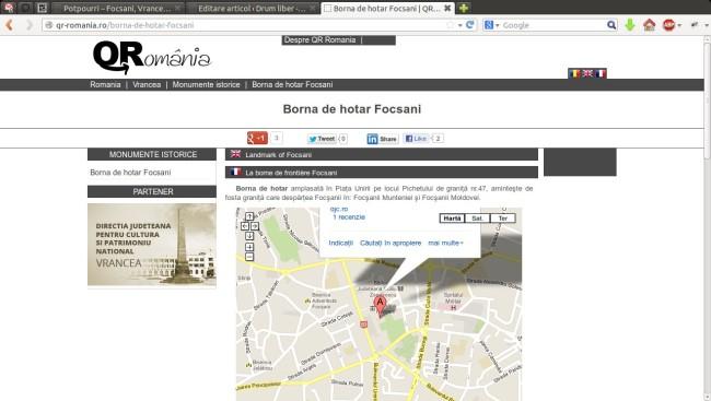 Borna de hotar Focsani | QR Romania - Mozilla Firefox