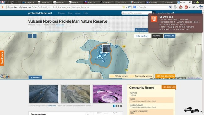 Contur corect al Rezervației Naturale Vulcanii Noroiosi Pâclele Mari (ProtectedPlanet)