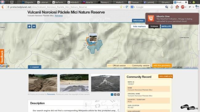 Contur corect al Rezervației Naturale Vulcanii Noroiosi Pâclele Mici (ProtectedPlanet)