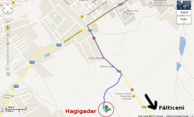Harta spre Mănăstirea Hagigadar