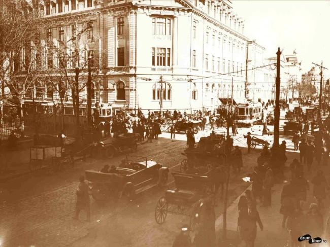 Două vagoane de tramvai electric pe strada Academiei (1925)
