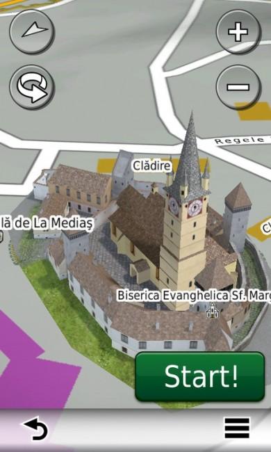 Biserica Evanghelică Fortificată din Mediaș în hărțile GPS Garmin 2014 - RO.A.D.2014.10 (Garmin-Nuvi-3790)