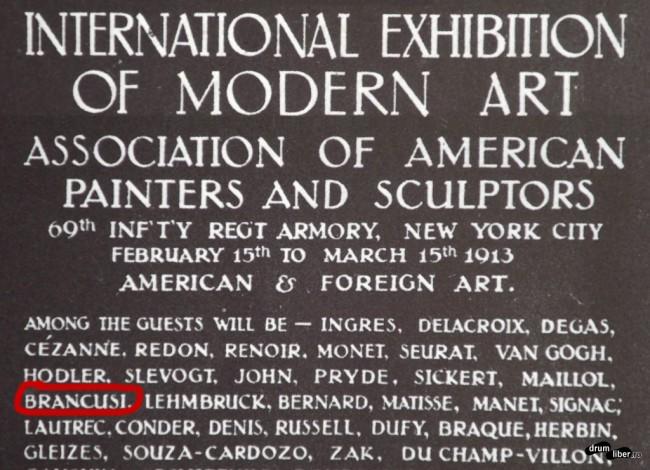 Expoziția cu Brâncuși din New York, primăvara 1913