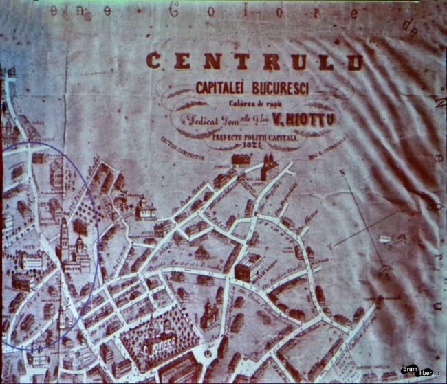 Harta Bucureștiului la 1871 în care apare încă Academia Brâncovenească