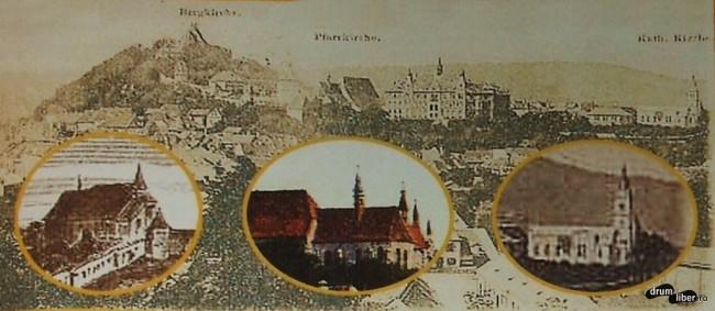 Ilustrata din 1899 cu cele trei biserici principale ale urbei
