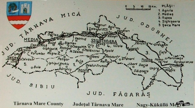 Harta cu Județul Târnava Mare din 1924