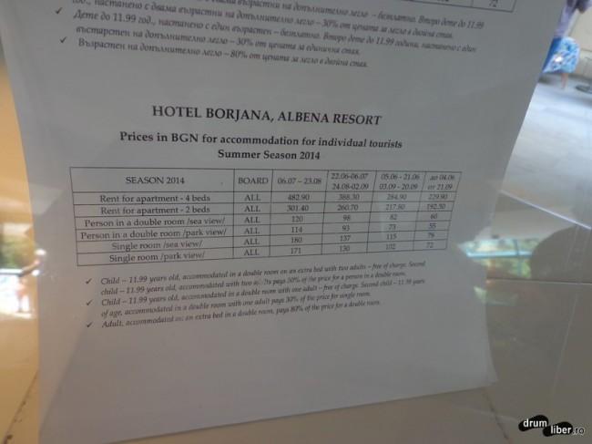 Prețurile la Hotel Borjana, 3 stele, Albena
