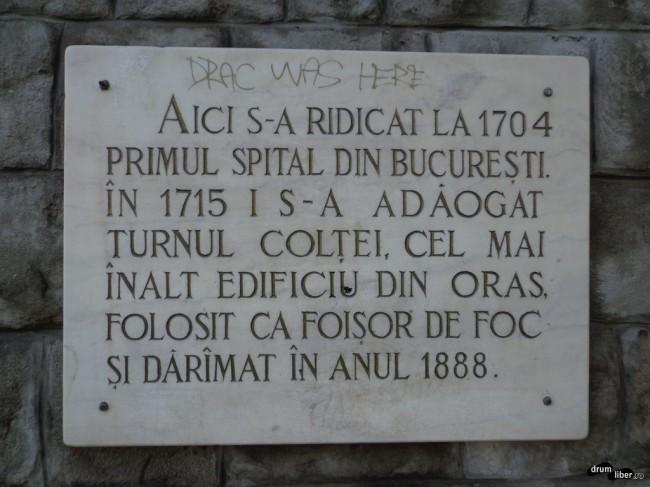 Plăcuță de pe Spitalul Colțea din București