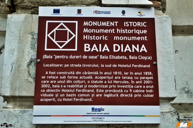Plăcuță de pe Baia Diana