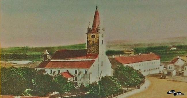 Poză veche cu Biserica Evanghelică din Reghin, anul 1915