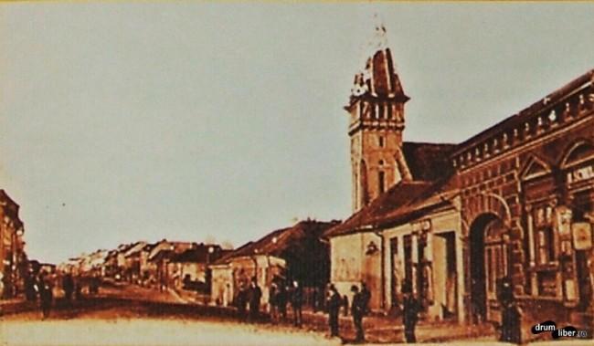 Poză veche cu Biserica Reformată din Reghin, anul 1909