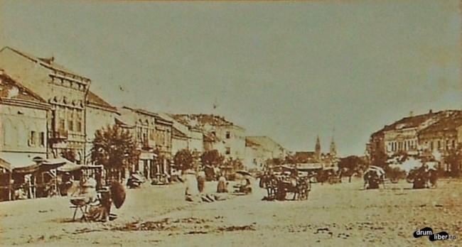 Piața centrală din Reghin în 1904