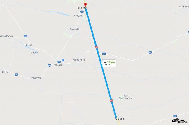 Captura ecran cu harta drum drept la nord de Corabia