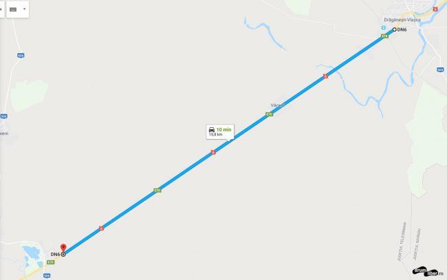 Captura ecran cu harta drum drept la sud de Drăgănești Vlașca