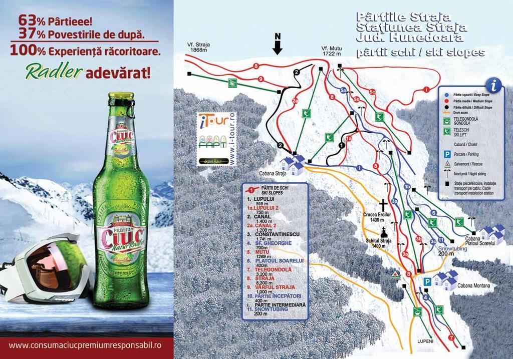Harta partii schi Straja, Hunedoara